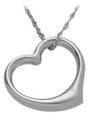 10K White Gold Thick Floating Heart Pendant with chain