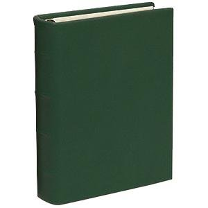 Standard 3-ring Traditional Hunter-Green fine European Leather binder unfilled by Graphic Image