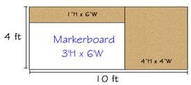 Combination Porcelain Steel Marker and Bulletin Boards-type D reverse DL 4' x 10' (Tack-Le' 4' x 2', Marker-Cent Right 3' x 6', Tack-Top 1' x 6')