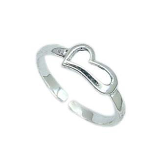 .925 Sterling Silver Heart Toe Ring