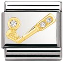 Composable Classic SPORTS in stainless steel , gold 18k and Cubic zirconia (CLEAR golf club)