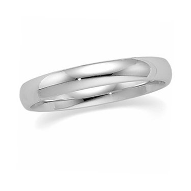 18K White Gold, Light Comfort Fit Wedding Band 4MM (sz 9)