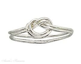 Sterling Silver Double Love Knot Ring Size 7