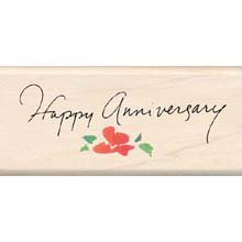 Inkadinkado Rubber Stamp With Wood Handle-Happy Anniversary