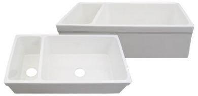 Whitehaus WHQDB542-WH Farmhaus Large Quatro Alcove 36-Inch Reversible Fireclay Sink, White