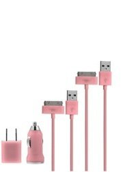 Chromo Inc Hot Pink USB Wall/Car Charger and 2 USB Cables for Apple iPhone 3gs 4 4s