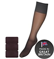 3 Pairs of 15 Denier Medium Support Shine Knee Highs