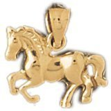 CleverEve 14K Yellow Gold Pendant Horse 1.4 Grams