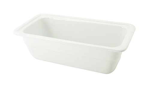 Cac China Bf-103D Food Pans Bright White Porcelain 1/3 Deep Gn Pan, 12-3/4 By 6-7/8 By 4-Inch, 6-Pack