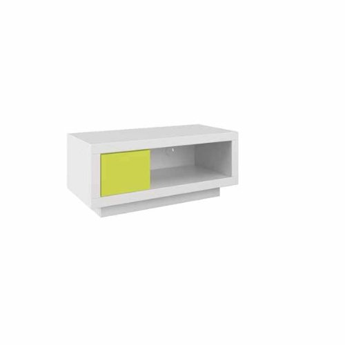 Schnepel VariC L Wide TV Stand, 1200 x 440 x 400 cm, White/ Lime Green