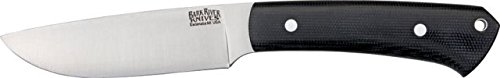 Bark River Highlander Series Fixed Blade Knife,4In,A-2 Tool Steel Blade,Black Canvas 131Mbcs
