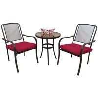 Worldwide Sourcing Mesa Wrought Iron Bistro Set Xc6777p03abkcg91 by WORLDWIDE SOURCING