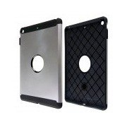 PC and Silicone Hybrid Patchwork Tough Armor Case with Air Cushion Tech for IPAD AIR - Silver Silver