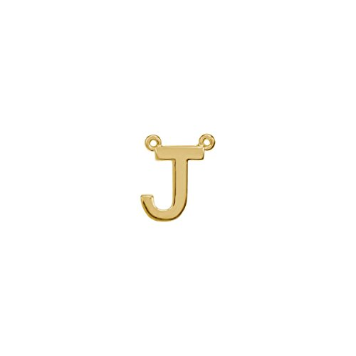 """14Kt Yellow Letter """"""""J"""""""" Block Initial Necklace Center"""