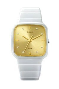 Rado R28900702 Watch R5.5 Ladies - Gold Dial White Ceramic Case Quartz Movement