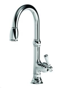 Newport Brass 2470-5103 Jacobean Kitchen Faucet with Metal Lever Handle and Pull, Polished Nickel