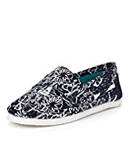 Sea Theme Print Riptape Espadrilles