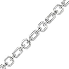 Diamond Geometric Link Bracelet in 10K White Gold 1 CT. T.W. dia brac bangle