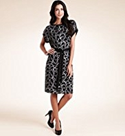 Waist Tie Crackle Print Dress