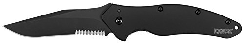 Kershaw Black Shallot Knife with Tungsten DLC Black coating on Blade & Handle and Partially Serrated Blade