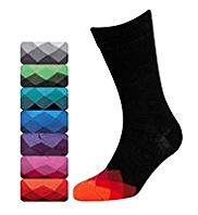 7 Pairs of Cotton Rich Freshfeet™ Harlequin Toe Socks with Silver Technology