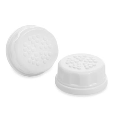 Lifefactory' 2-Pack Baby Bottle Flat Solid Cap Set in White - 1