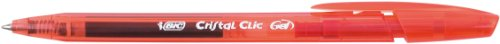 BIC Cristal Clic - Bolígrafo de tinta gel con punta retráctil (trazo de 0,4 mm, 20 unidades), color rojo