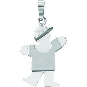 14K White Gold The Kids Boy Charm Pendant Jewelry