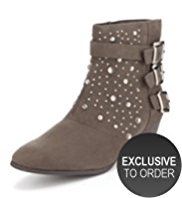 Limited Edition Mock Suede 3 Buckle Studded Ankle Boots with Insolia®