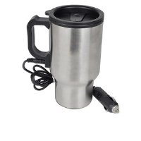 Roadmaster Stainless Steel Electronic Travel Mug - Spill Resistant Lid, DC Plug, Rubber Bottom - DHM140