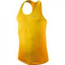 "NIKE Men's DRI-FIT ""Race Day"" Slim Fit Tank Top Shirt-Yellow"