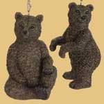 Set of 2 Kenai brown Grizzly BEAR Christmas Tree ORNAMENTS lodge decor