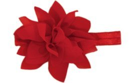 Baby Flower Headband for Infant, Baby, Toddler. Chiffon Flower. (Red)