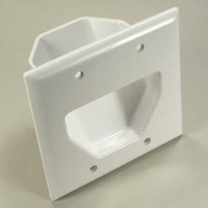 InstallerParts 2-Gang Recessed Low Voltage Cable Plate - White - Mounting Screw Included (Cord Pass Through Wall Plates compare prices)