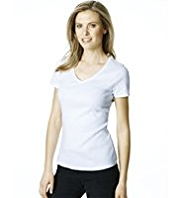 M&S Collection Pure Cotton V-Neck T-Shirt with StayNEW™