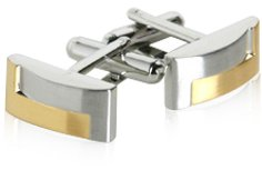 Designer Two-Tone Gold Silver Matte Cufflinks with Presentation Box