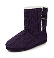 M&S Collection Cable Knit Toggle Boot Slippers