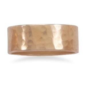 Solid Copper Hammered 8mm Band Ring Made in the USA, 7