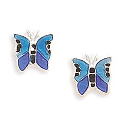 Blue Epoxy Butterfly Stud Earrings