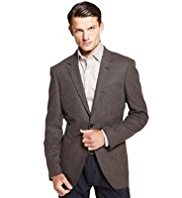 Autograph Wool Blend Notch Lapel Jacket