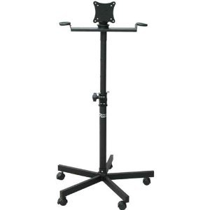 Audio2k Ast-420x Flat Panel Tv/monitor Stand with Metal Mic Holders & Wheel Base