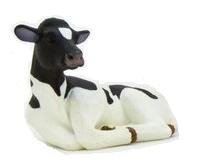 Mojo Fun 387082 Holstein Calf Laying - Realistic Farm / Ranch / Barnyard Animal Toy Replica
