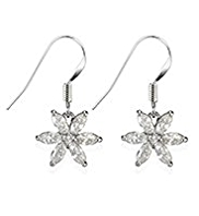 M&S Collection Platinum Plated Diamanté Floral Drop Earrings