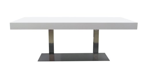 Tenzo-4800-001-Bloc-Designer-Esstisch-Tischplatte-12-cm-Wabe-mit-MDF-Beschichtung-wei-lackiert-matt-Edelstahluntergestell-77-x-220-x-100-cm-HxBxT
