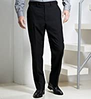 Big & Tall Supercrease® Active Waistband Flat Front Straight Fit Trousers with Wool