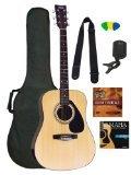 Yamaha Gigmaker Standard Acoustic Guitar w/ Gig Bag, Tuner, Instructional DVD, Strap, Strings, and Picks - Natural