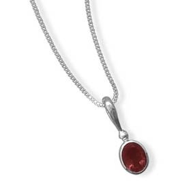 Sterling Silver 2.80 Carat Oval Garnet Pendant with 18