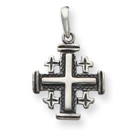 Sterling Silver Antiqued Jerusalem Crusader Pendant with 18 Inch Stainless Steel Chain