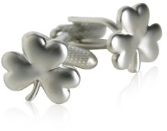 Lucky Irish 4 Leaf Clover Silver Cufflinks with Presentation Box