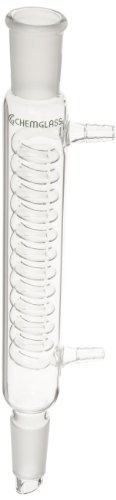 Chemglass CG-1216-01 Glass Reflux Coil Condenser, 200mm Jacket Length, 315mm Overall Length, 24/40 Joint (24 40 Condenser compare prices)